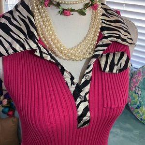Belldini high quality pink knit top & zebra trim
